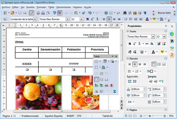 Captura de pantalla de OpenOffice